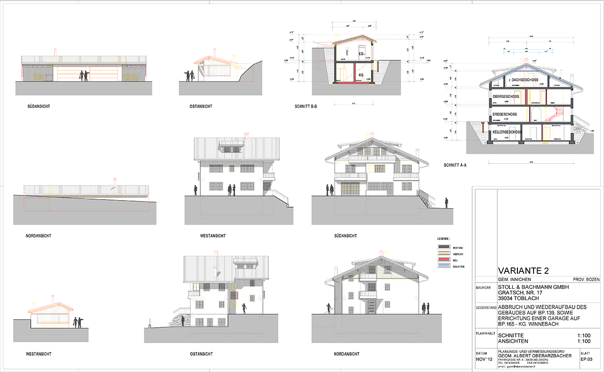 Abbruch und wiederaufbau wohnhaus mit garage f r familie b for Garage con planimetrie abitative